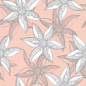Love Blooms - Grey White on Peach by Rhonda W