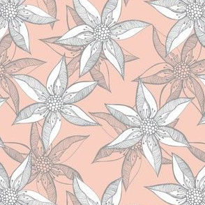 Love Blooms - Grey and White on Peach