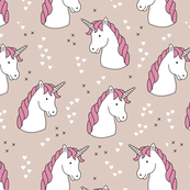 Unicorn love rainbow dreams girls fantasy horse in pastel pink beige