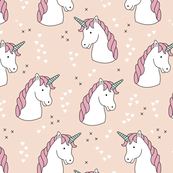 Unicorn love rainbow dreams girls fantasy horse in pastel pink blush coral