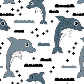 Geometric dolphin ocean theme for kids sea life in gender neutral gray black and white