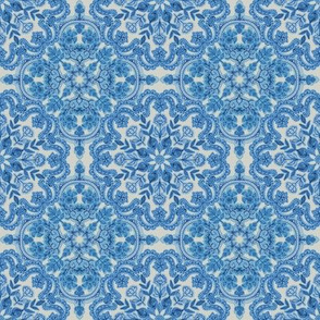 Blue and Grey Folk Art Pattern