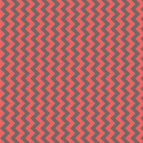 gray and coral red chevron