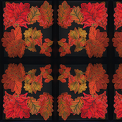 Quilted Autumn Oak Leaves Mirrored-ed