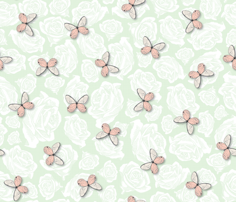 Cream & Peach Butterflies on a bed of roses