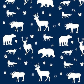 woodland animals // indigo
