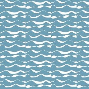 Waves MED white on sea blue