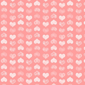 Watercolor Hearts, Pink Coral