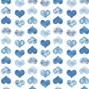 Watercolor Hearts, Navy Blue