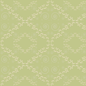 Rain and Wind in Diamond Pattern Moss Green and Peach