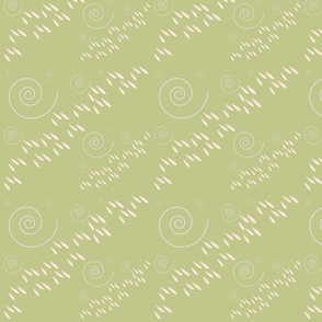Rain and Wind in Stripes Pattern Moss Green and Peach