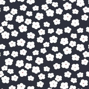 White Flowers (Navy)