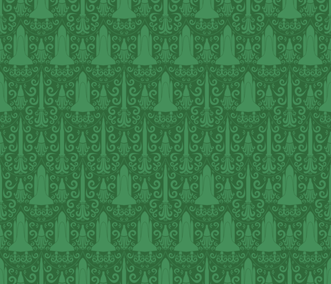 Rocket science damask green fabric robyriker spoonflower for Rocket fabric
