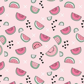 Summer watermelon fruit illustration fun kids design in colorful pastel pink