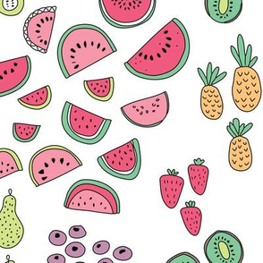 Colorful tropical summer fruit watercolors pineapple kiwi pear and berry illustration