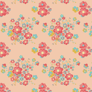 Painterly Floral, peach