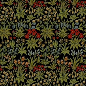 William Morris  ~ Millefleur ~ Black and Bright