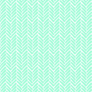 Modern Herringbone, Neon Mint Green