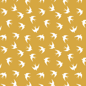 Birds in a yellow sky
