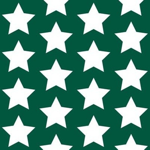 white stars on forest green