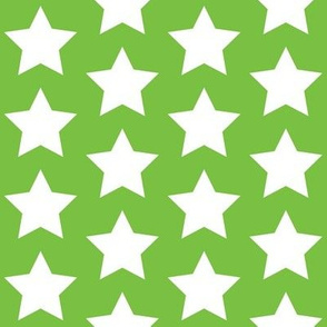 white stars on lime