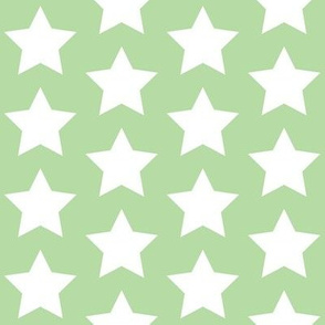 white stars on mint green