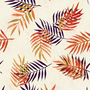 Palm Leaves and Silhouettes in Rust and Aubergine