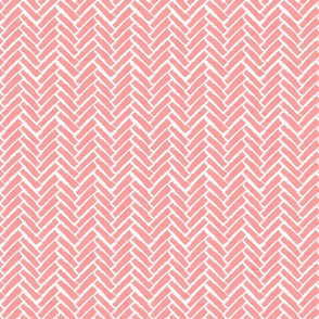 Modern Herringbone, Pink Coral