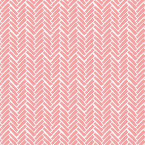 Modern Herringbone, Pink Coral