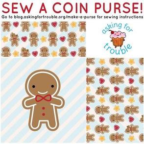 Cookie Cute Gingerbread Man Coin Purse - Cut & Sew Pattern