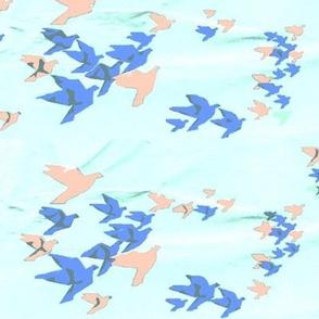 Origami Birds in a Paper Sky