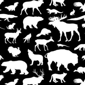 North American Animals on Black