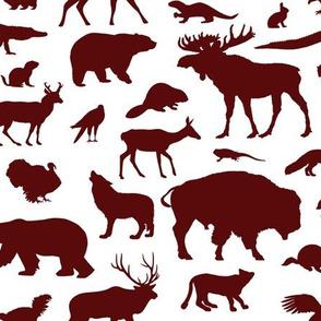 North American Animals - Maroon