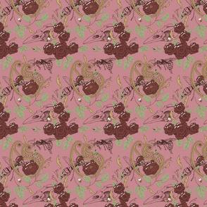 Dark Floral Paisley Pink