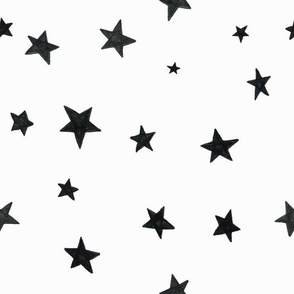 hand drawn stars black on white