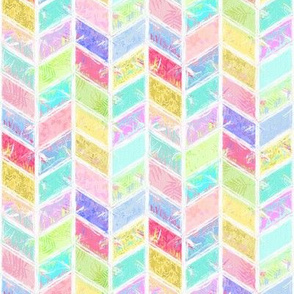 Rainbow Smudgy Patchwork Chevron
