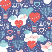 Love Is In The Air Birds Balloons & Hearts