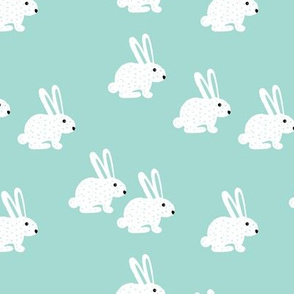 Soft pastel white bunny rabbit illustration for spring and easter kids design mint