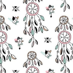 Bohemian indian summer dreamcatcher illustration feathers and aztec flowers detail illustration