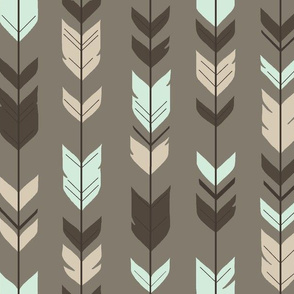Arrow Feather-taupe/brown/mint/cream