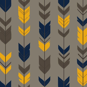 Arrow Feathers-navy/gold/brown