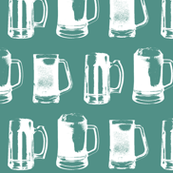 Beer Mugs on Turquoise - Large