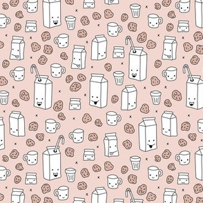 Milk and cookies cool cups and carton box school kids illustration print gender neutral beige
