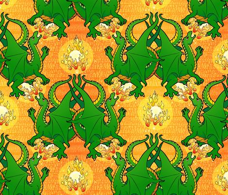 Fire breathing dragon, green
