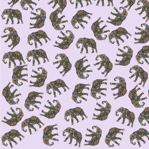 Painted Elephant Toss on Lavender