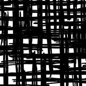Raw black and white strokes and lines trendy scandinavian style raster