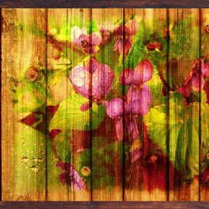 VIOLETS ON WOOD YUMMI PINK GREEN FAT PILLOW