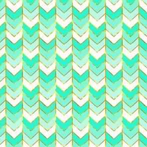 Mini Gilded Ombre Herringbone in Mint