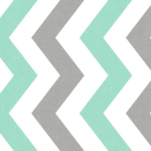 Bold Chevron in Mint and Cashmere Linen