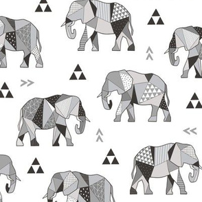 Elephants Geometric with Triangles Black&White Grey